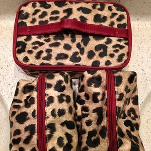 Set of Three Leopard Print Cosmetic Bags